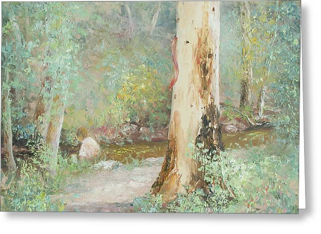 Impressionist Creek Oil Paintings Greeting Cards - Sundays at the creek Greeting Card by Jan Matson