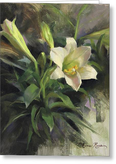White Lily Greeting Cards - Sundays Lily Greeting Card by Anna Bain