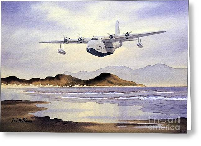 Aircraft Artist Greeting Cards - Sunderland Over Scotland Greeting Card by Bill Holkham