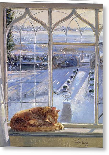 C20th Greeting Cards - Sundial And Cat Oil On Canvas Greeting Card by Timothy Easton
