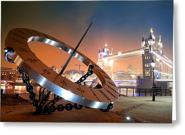 Historic Architecture Greeting Cards - Sundial and Tower Bridge Greeting Card by Songquan Deng