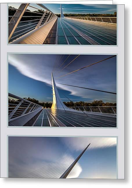 Sundial Bridge Triptych Greeting Card by Leland D Howard