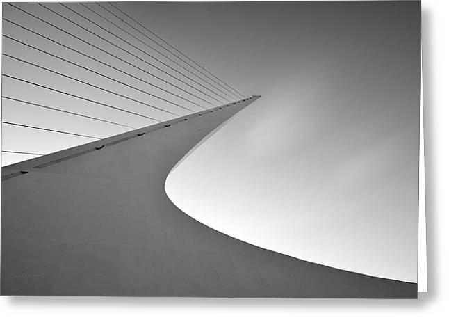 Sundial Bridge Bw 6 Greeting Card by Leland D Howard