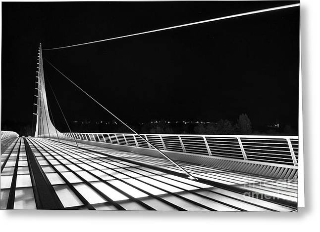 Translucent Light Greeting Cards - Sundial Bridge - Unique and beautiful in Redding California in Black and White. Greeting Card by Jamie Pham