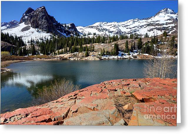 Blanche Greeting Cards - Sundial Peak and Lake Blanche in Spring Greeting Card by Gary Whitton