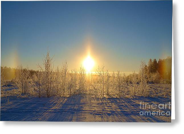 Snowy Evening Greeting Cards - Sundogs in Winter Wonderland Greeting Card by Ismo Raisanen