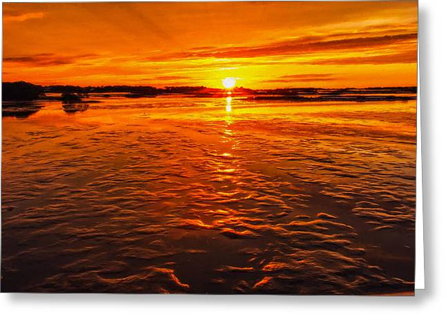 Gloaming Greeting Cards - Sundown at Low Tide Greeting Card by John Bailey