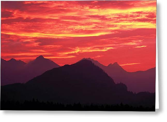 Bavaria Greeting Cards - Sundown Austrian Mts South Bavaria Greeting Card by Panoramic Images
