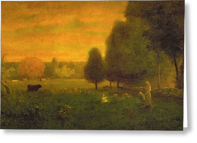 Picking Greeting Cards - Sundown Brilliance Greeting Card by George Snr. Inness