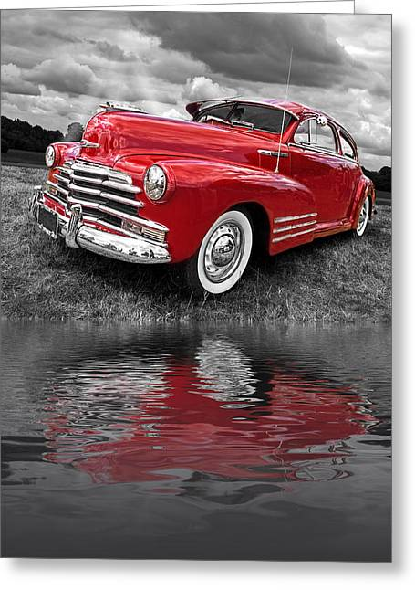 Water In Cave Greeting Cards - Sundown By The Lake - 1948 Red Chevy Greeting Card by Gill Billington