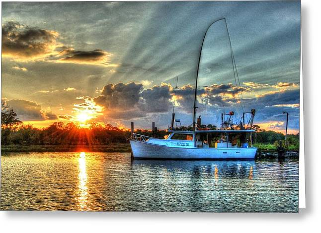 Crimson Tide Greeting Cards - Sundown Greeting Card by Michael Thomas