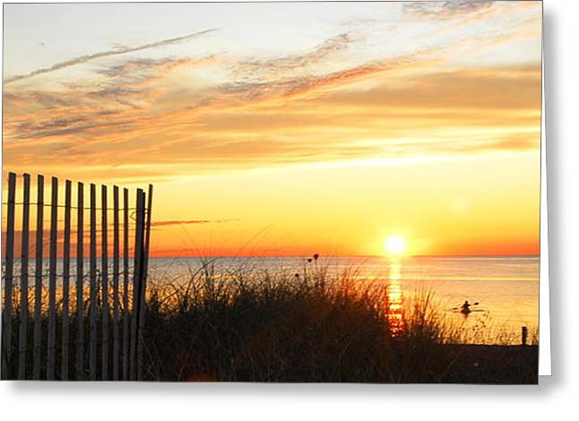 York Beach Greeting Cards - Sundown on Long Island Greeting Card by Linda Covino