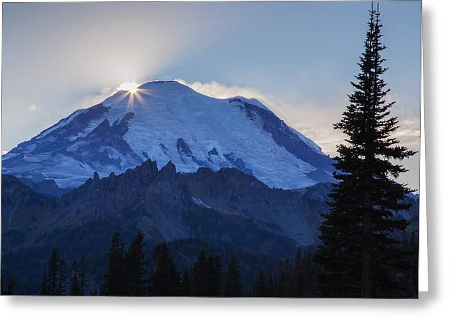 Burst Greeting Cards - Sundown on Mt. Rainier Greeting Card by Angie Vogel