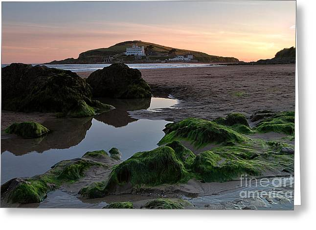 Tidal Photographs Greeting Cards - Sundown on the Beach  at Bigbury on Sea in Devon Greeting Card by Louise Heusinkveld