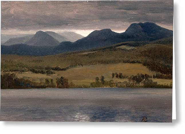 Thought Realistic Greeting Cards - Sundown on the Lake.Thought to be Lake Tahoe Greeting Card by Albert Bierstadt