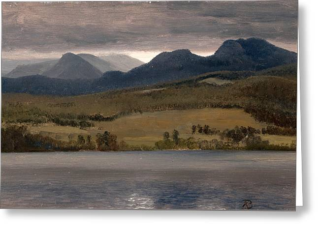 Sundown On The Lake.thought To Be Lake Tahoe Greeting Card by Albert Bierstadt