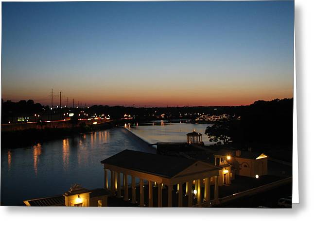 Phillies Framed Prints Greeting Cards - Sundown on the Schuylkill Greeting Card by Christopher Woods