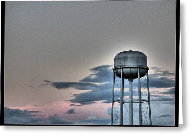 Martinville Greeting Cards - Sundown WaterTower Greeting Card by Orcinus Fotograffy