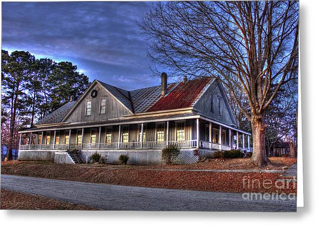 Sundown Windows At The Historic Railroad Hotel In Union Point Ga Greeting Card by Reid Callaway