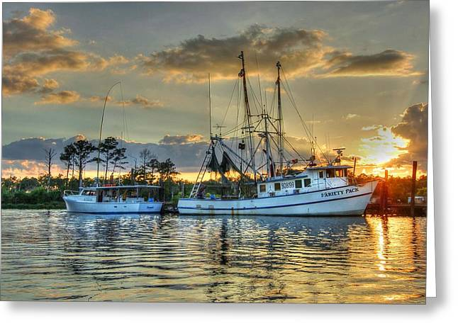 Crimson Tide Digital Art Greeting Cards - Sundown with Variety Pack Greeting Card by Michael Thomas