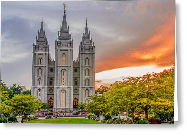 Utah Temple Photography Greeting Cards - Sunfire Temple Greeting Card by La Rae  Roberts