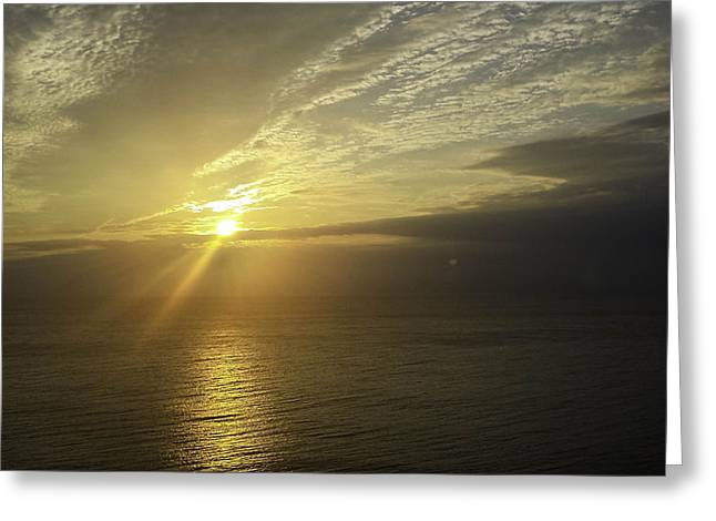Para Surfing Greeting Cards - Sunflares in the Sunrise Greeting Card by Debra Bowers