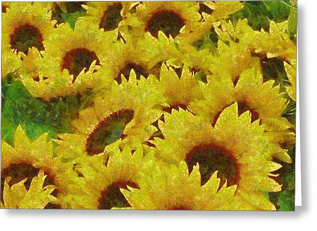 Vibrant Green Greeting Cards - Sunflower 04 Greeting Card by Victor Gladkiy