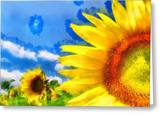 Vibrant Green Greeting Cards - Sunflower 05 Greeting Card by Victor Gladkiy