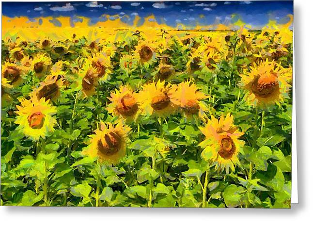 Vibrant Green Greeting Cards - Sunflower 06 Greeting Card by Victor Gladkiy