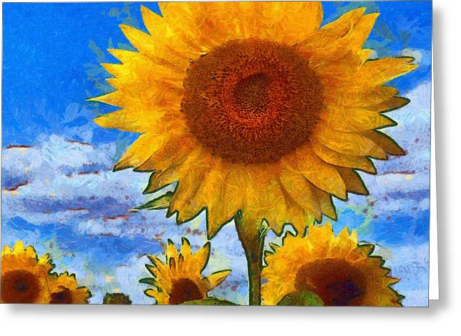 Vibrant Green Greeting Cards - Sunflower 06a Greeting Card by Victor Gladkiy