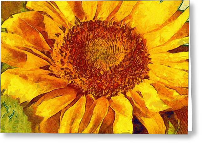 Vibrant Green Greeting Cards - Sunflower 07 Greeting Card by Victor Gladkiy