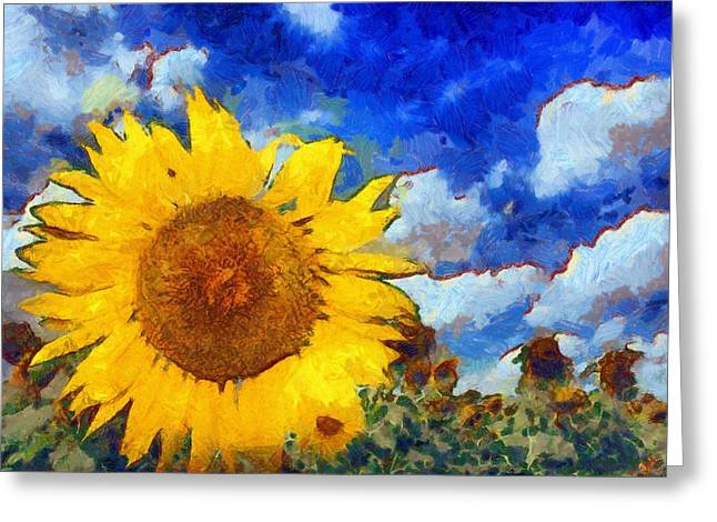 Vibrant Green Greeting Cards - Sunflower 08 Greeting Card by Victor Gladkiy