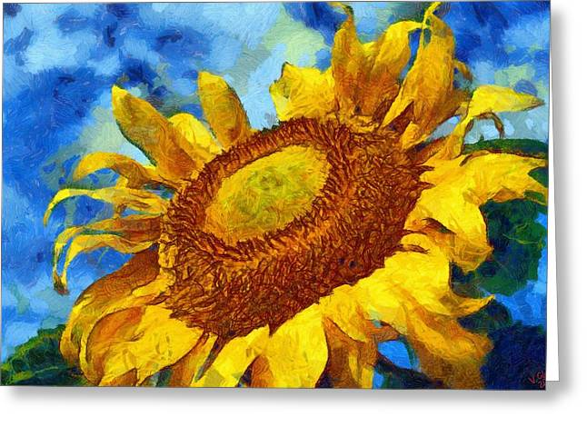 Vibrant Green Greeting Cards - Sunflower 09 Greeting Card by Victor Gladkiy