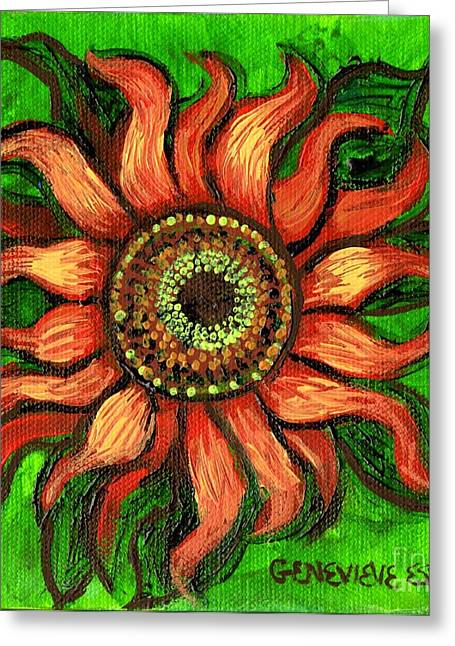 Girasole Greeting Cards - Sunflower 1 Greeting Card by Genevieve Esson