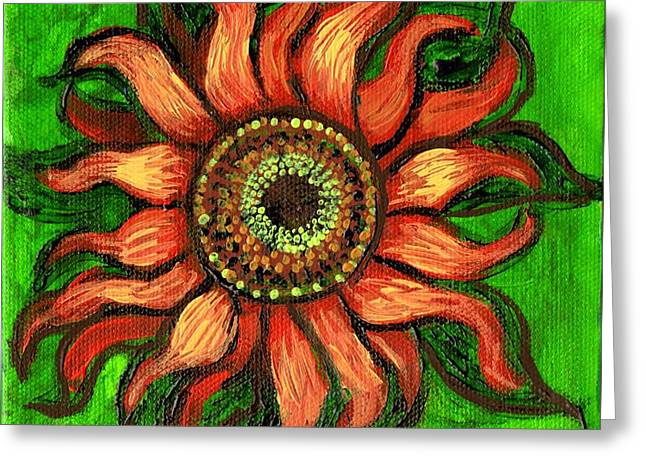 Girasol Greeting Cards - Sunflower 1 Greeting Card by Genevieve Esson