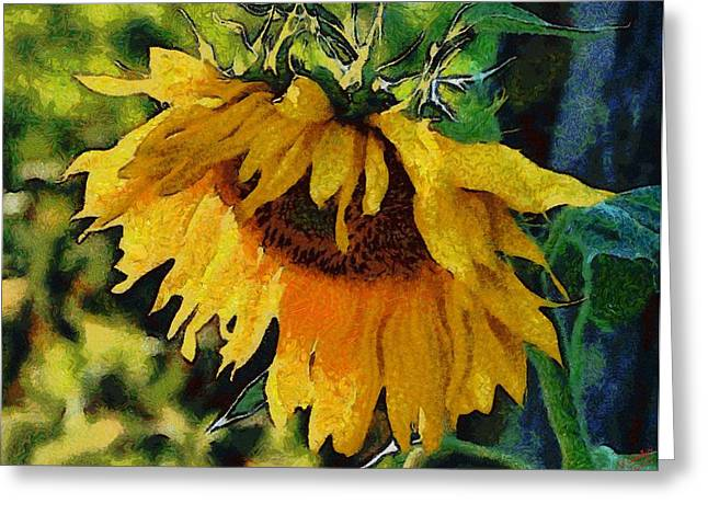 Vibrant Green Greeting Cards - Sunflower 11 Greeting Card by Victor Gladkiy