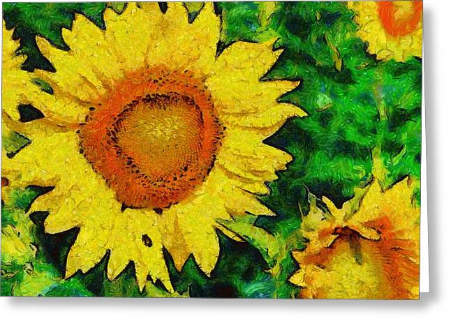 Vibrant Green Greeting Cards - Sunflower 12 Greeting Card by Victor Gladkiy