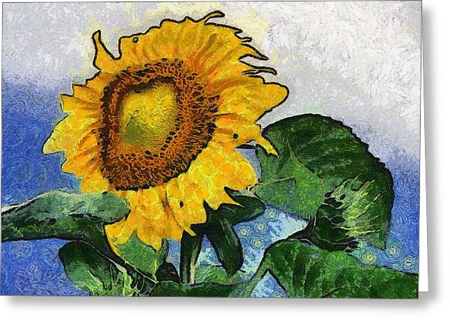 Vibrant Green Greeting Cards - Sunflower 13 Greeting Card by Victor Gladkiy