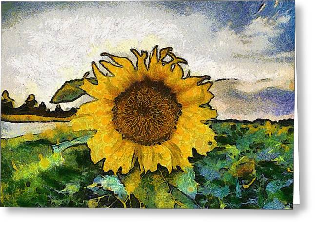 Vibrant Green Greeting Cards - Sunflower 14 Greeting Card by Victor Gladkiy