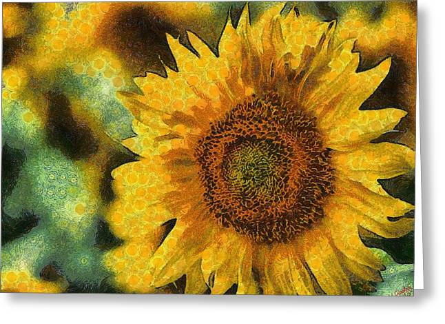 Vibrant Green Greeting Cards - Sunflower 15 Greeting Card by Victor Gladkiy
