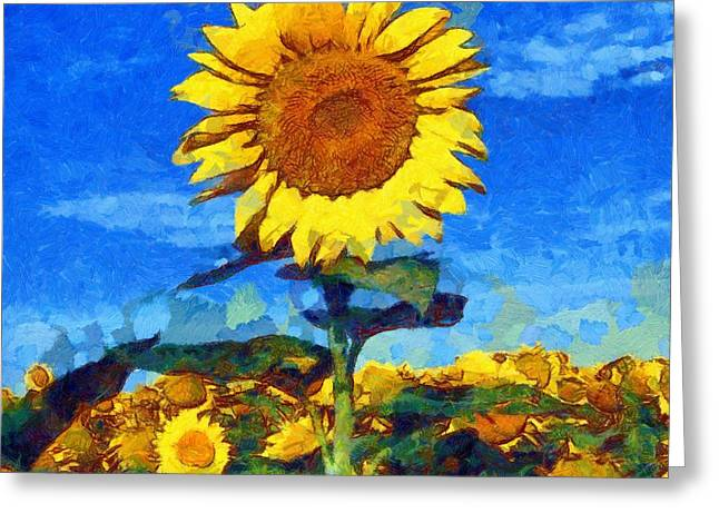 Vibrant Green Greeting Cards - Sunflower 16 Greeting Card by Victor Gladkiy