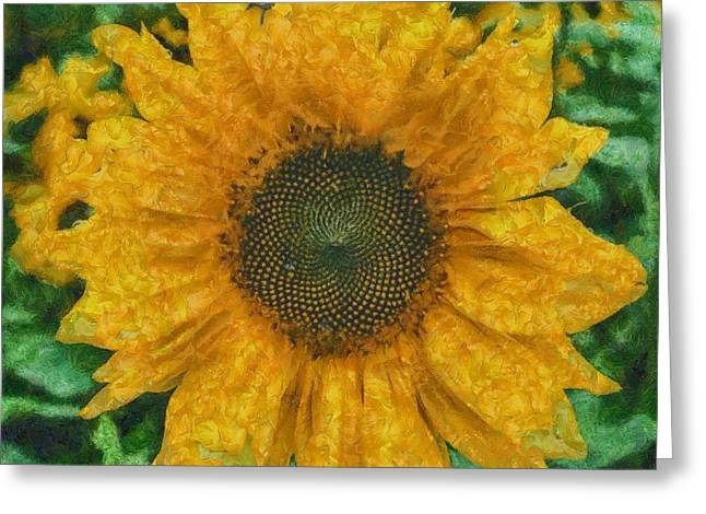 Vibrant Green Greeting Cards - Sunflower 18 Greeting Card by Victor Gladkiy