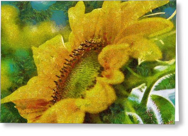 Vibrant Green Greeting Cards - Sunflower 19 Greeting Card by Victor Gladkiy