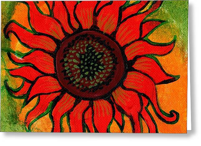 Girasole Greeting Cards - Sunflower 2 Greeting Card by Genevieve Esson