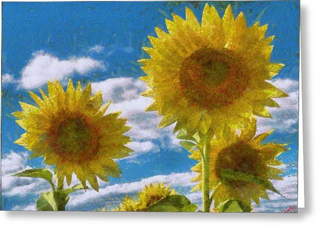 Vibrant Green Greeting Cards - Sunflower 20 Greeting Card by Victor Gladkiy
