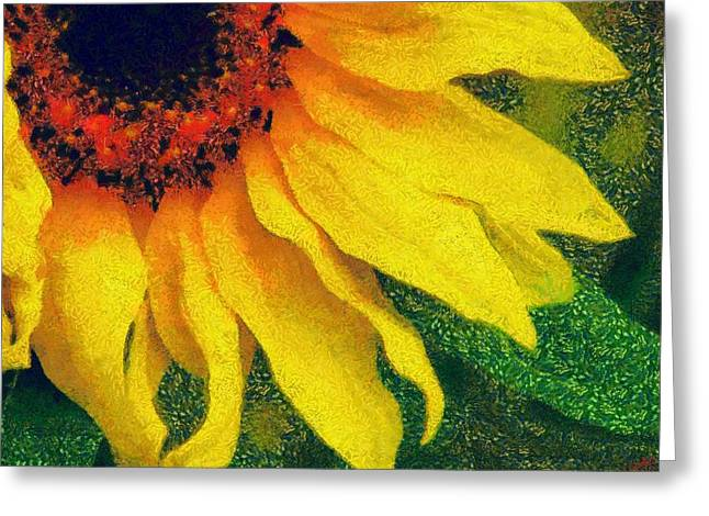 Vibrant Green Greeting Cards - Sunflower 22 Greeting Card by Victor Gladkiy