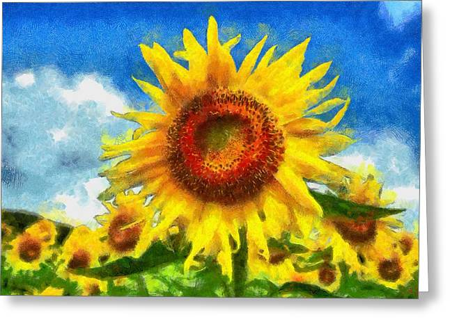 Vibrant Green Greeting Cards - Sunflower 23 Greeting Card by Victor Gladkiy