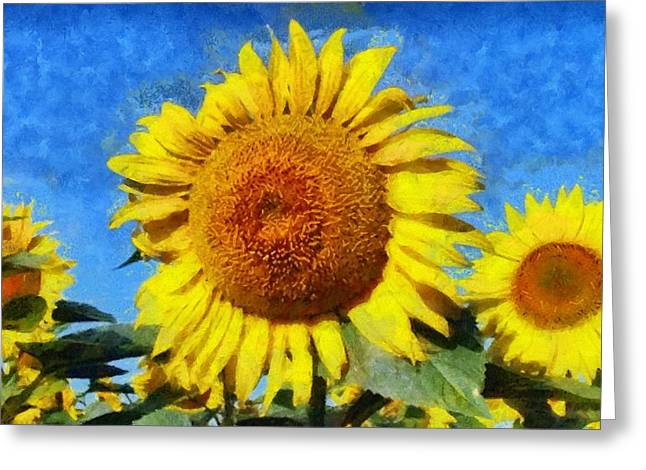 Vibrant Green Greeting Cards - Sunflower 24 Greeting Card by Victor Gladkiy