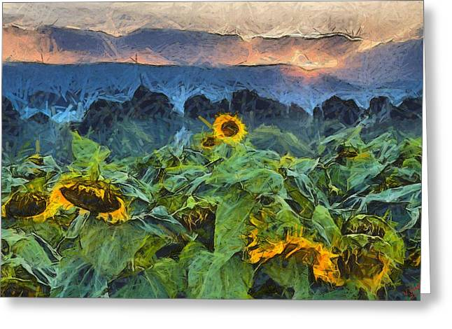 Vibrant Green Greeting Cards - Sunflower 25 Greeting Card by Victor Gladkiy