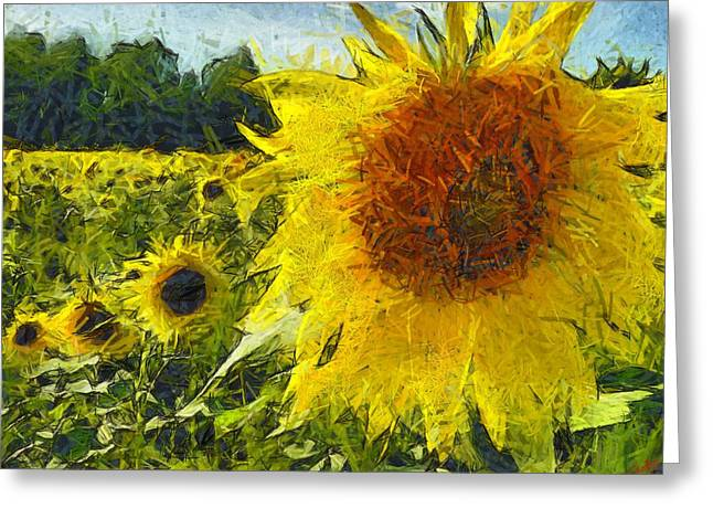 Vibrant Green Greeting Cards - Sunflower 26 Greeting Card by Victor Gladkiy